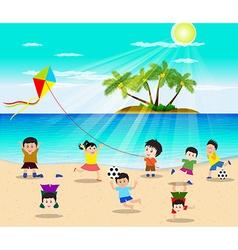 Happy kids having fun on the beach vector