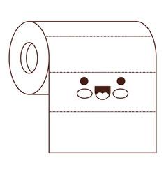 Kawaii roll paper towel in brown silhouette vector