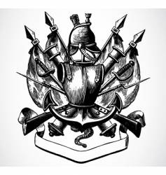 knight shield of arms vector image