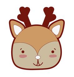 Line color happy deer head wild animal vector