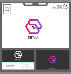 logo letter cs hexagonal for technology concept vector image