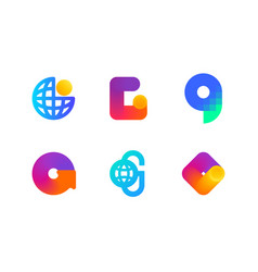 logo or icon of letter g for global blockchain vector image