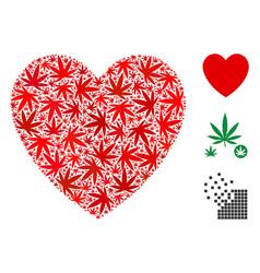 Love heart mosaic cannabis vector