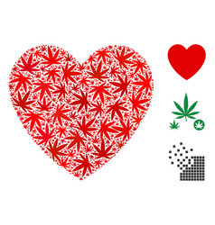 Love heart mosaic of cannabis vector