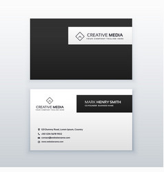 Minimal black and white business card design vector
