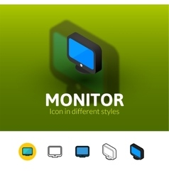 Monitor icon in different style vector image