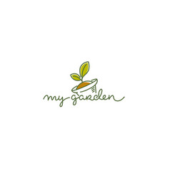 my garden logo template with line art image of vector image