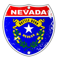 Nevada flag icons as interstate sign vector