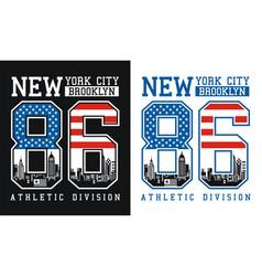 new york brooklyn number 86 typography design vector image