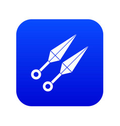 ninja weapon kunai icon digital blue vector image