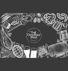 octoberfest design template hand drawn on chalk vector image