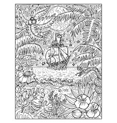 old sailboat and jungles vector image