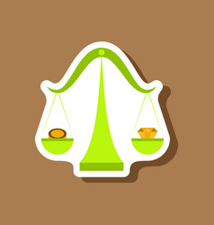 Paper sticker on stylish background coin and vector