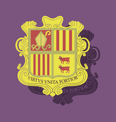 Paper sticker on theme coat of arms andorra vector