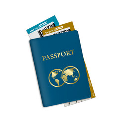 Passport with plane tickets vacation id document vector
