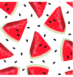pieces red watermelon on seamless background vector image
