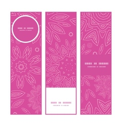 Pink abstract flowers texture vertical banners set vector
