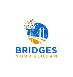 Pixel bridge logo design template vector