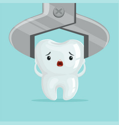Sad cartoon tooth character extraction by dental vector