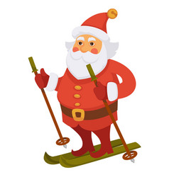 Santa winter vacations skiing ski daily christmas vector