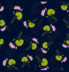 seamless pattern with hand drawn lotus vector image