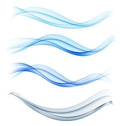 set blue abstract wave design element vector image