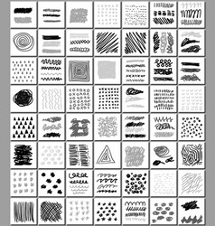 Set of hand drawn monocrome textures vector