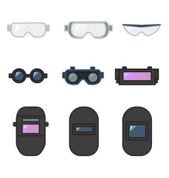 set of safety goggles and welding helmet for eye vector image