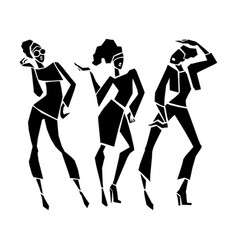 silhouette fashion girls vector image