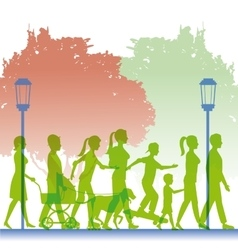Silhouette green color people walking in street vector