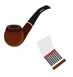 Smoking pipe and matcstick vector image