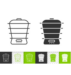steamer simple black line icon vector image