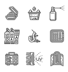 Tattoo procedure line icons vector image