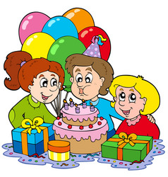 three children at birthday party vector image