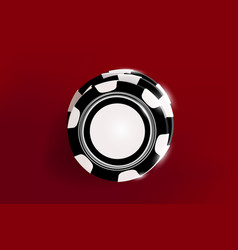 Top view of casino black and white chips on red vector