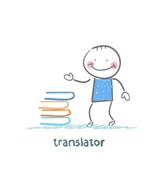 Translator standing next to a stack of books vector