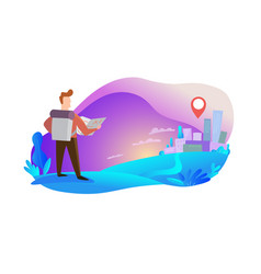 traveler on his way to city vector image