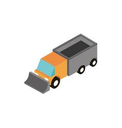 truck excavator transport vehicle isometric icon vector image