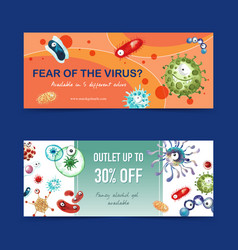 Twitter ad design with virus concept creative vector