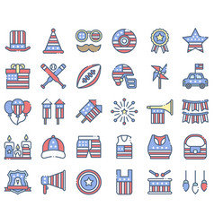 United state independence day icon set 2 omission vector