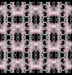 Vintage floral seamless pattern black vector
