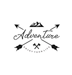 vintage hipster adventure lettering logo with arro vector image