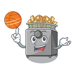 With basketball cartoon deep fryer in the kitchen vector