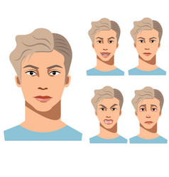 young man face different emotions vector image