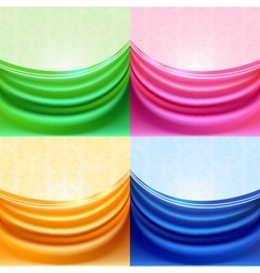 colored set curtain silk tissue vector image