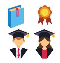 graduation man and woman silhouette uniform avatar vector image vector image