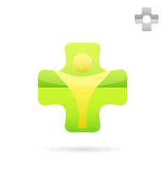 Green medical cross logo with human body shape vector