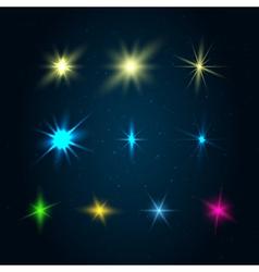 Set of 10 glowing design elements vector image