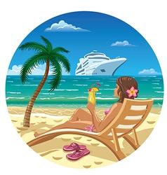 woman on a beach vector image