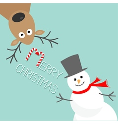 Cartoon Snowman and deer Blue background Candy vector image vector image